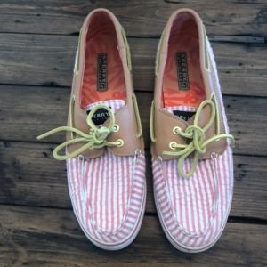 Sperry Top-Sider Boat Shoes Pink White Seersucker
